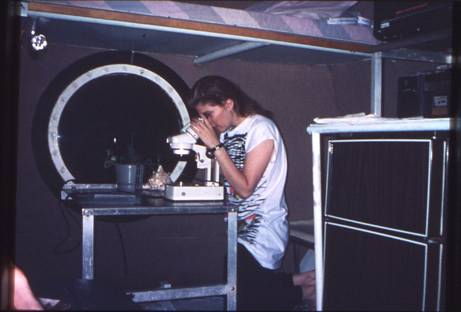 "ALT =[""Dr. Jolie Bookspan: Dr. Bookspan working inside the underwater lab.""]"