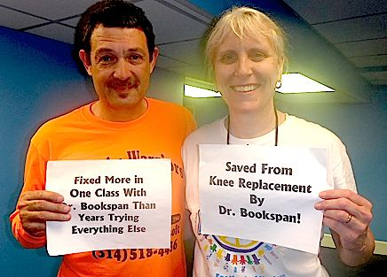 "ALT =[""Patients of Dr. Jolie Bookspan: Saved from knee replacement.""]"